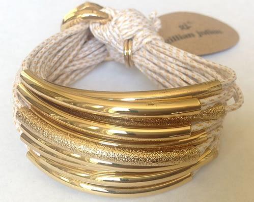 textured tubes metallic cord gold