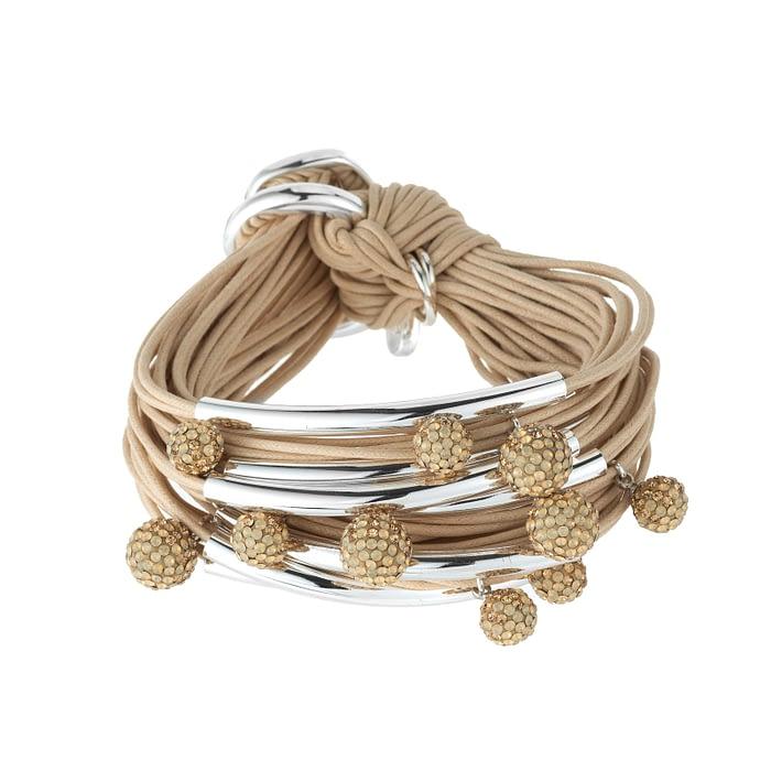 Silver tubes diamond balls bracelet
