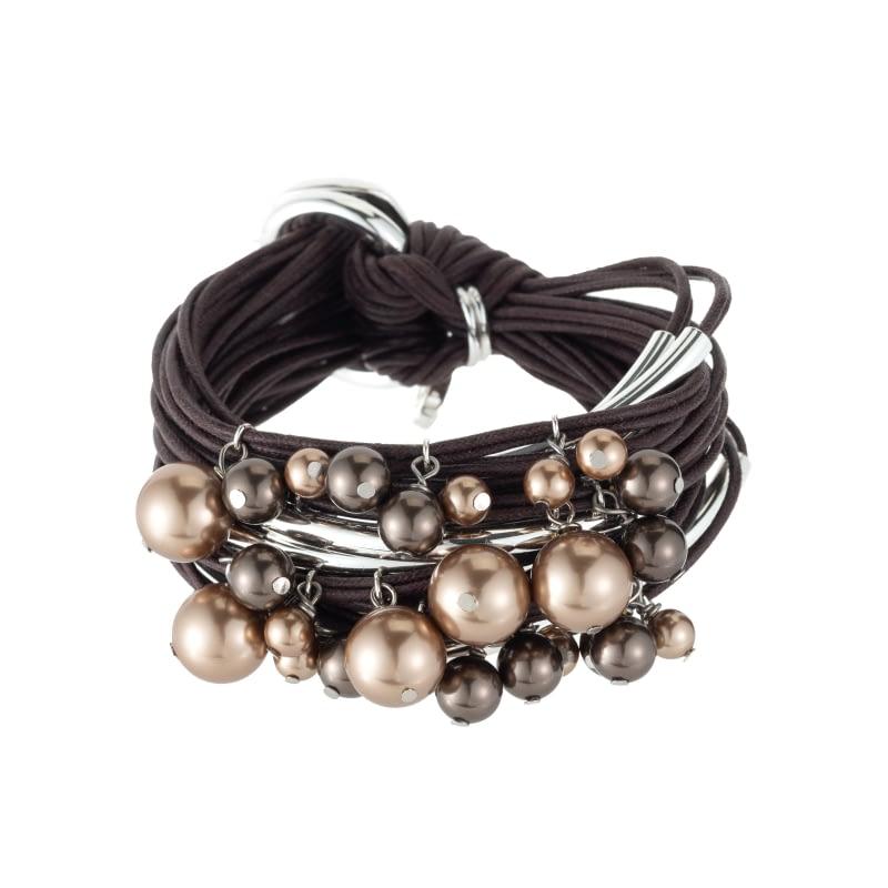 Tonal chocolate pearls bracelet